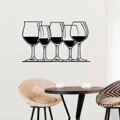 Adesivo De Parede Bebidas Várias Taças De Vinho
