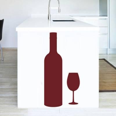 Adesivo de Parede para Cozinha Garrafa e Taça de Vinho