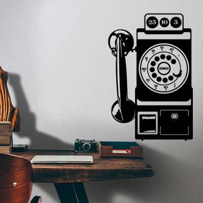Adesivo De Parede Telefone Retrô Vintage