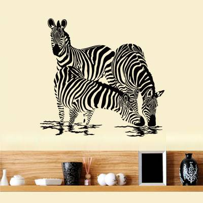 Adesivo de Parede Zebras Bebendo Agua
