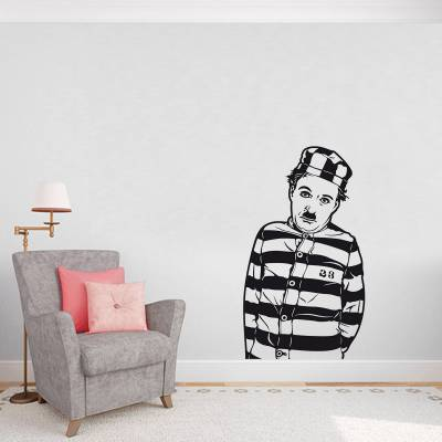 Adesivo de Parede Personalidades Charlie Chaplin Prisioneiro