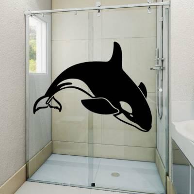 Adesivo Decorativo Box De Banheiro Animais Orca