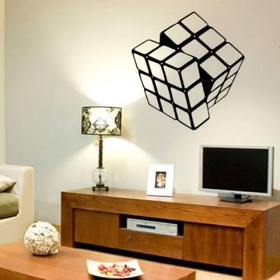 Adesivo de parede Cubo Magico preto e branco