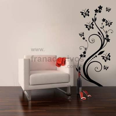 Adesivo Decorativo de Parede Floral 03 (flores e borboletas)