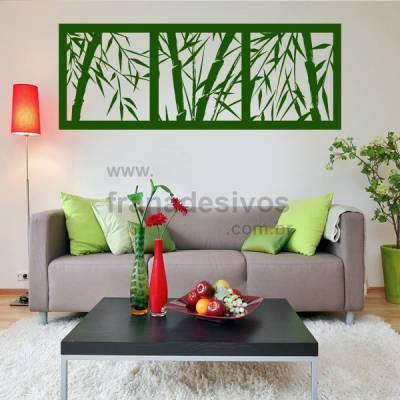 Adesivo de Parede Floral Modelo 24 (Bambu em quadros)