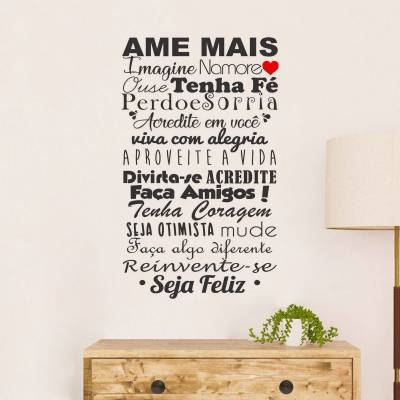 Adesivo Decorativo De Parede Frase Ame Mais Coração Amigos