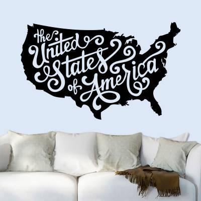 Adesivo de Parede Mapa Estados Unidos