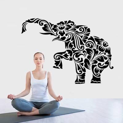 Adesivo De Parede Animais Elefante Floral