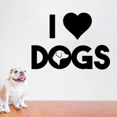 Adesivo De Parede Animais Eu Amo Cachorros