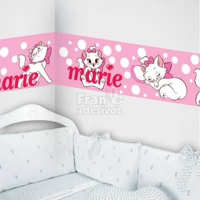 faixa decorativa para quarto infantil gatinha marie - rosa