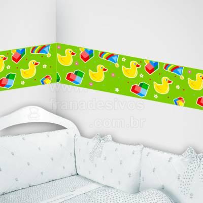 Faixa Decorativa para quarto infantil Patinhos - verde
