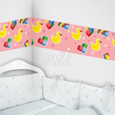 Faixa Decorativa para quarto infantil Patinhos - Rosa