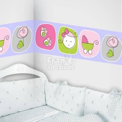 Faixa Decorativa para quarto infantil Rostinho de Menina - Lilas