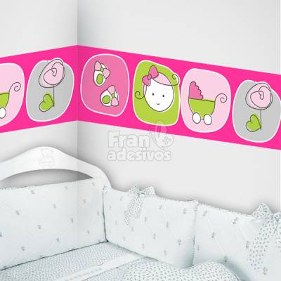 Faixa Decorativa para quarto infantil Rostinho de Menina - Magenta