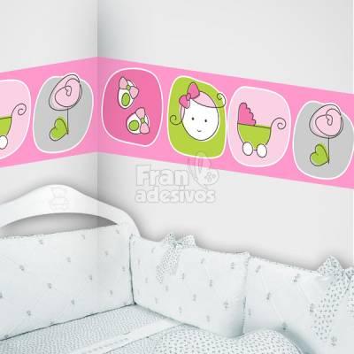 Faixa Decorativa para quarto infantil Rostinho de Menina - Rosa