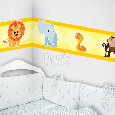Faixa Decorativa para quarto infantil Safari - Amarelo