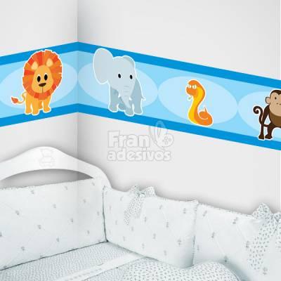 Faixa Decorativa para quarto infantil Safári - Azul