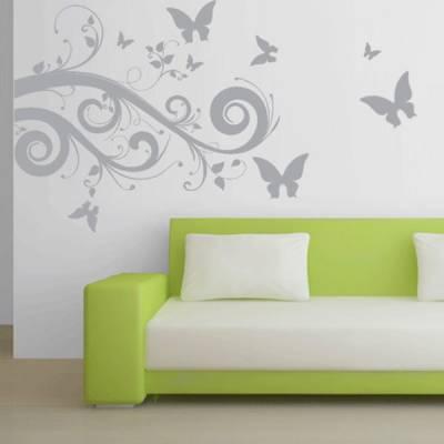 Adesivo Decorativo de Parede Floral 07 (flores e borboletas)