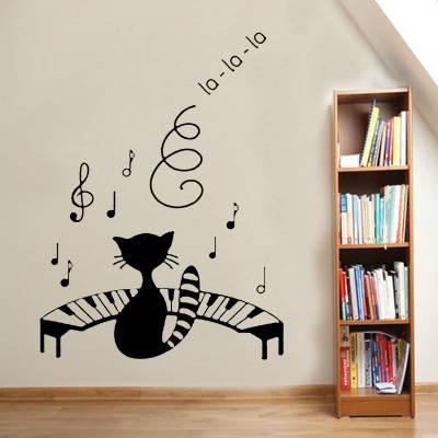 Adesivo De Parede Animais Gato Cantando