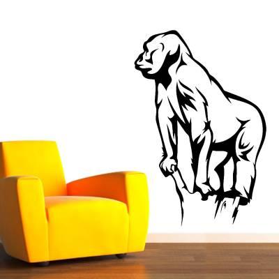 Adesivo De Parede Animais Diversos Gorila No Galho