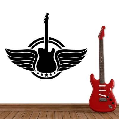Adesivo de Parede Musical Guitarra Com Asas