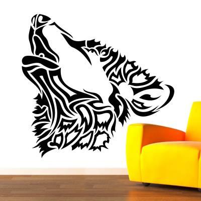 Adesivo De Parede Animais Lobo Tribal