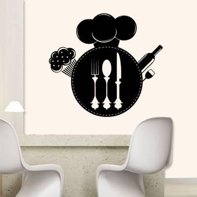 Adesivo de Parede Logo Restaurante Faca Colher E Garfo