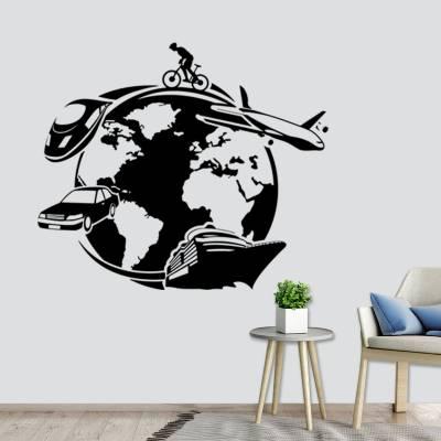 Adesivo de Parede Mapa Mundi Com Meios De Transportes Turismo
