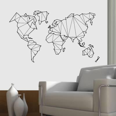 Adesivo De Parede Mapa Mundi Em Low Poly