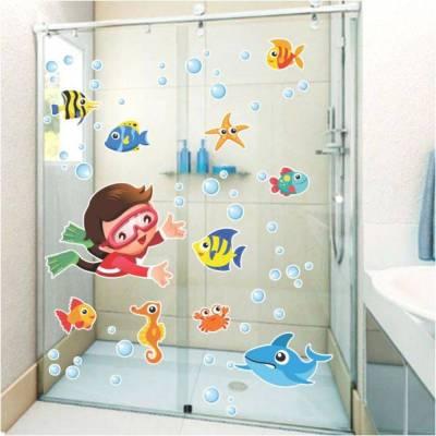 Adesivo decorativo para banheiro fundo do mar com menino