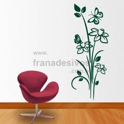 Adesivo Decorativo de Parede Floral Modelo 13 (flores e borboletas)