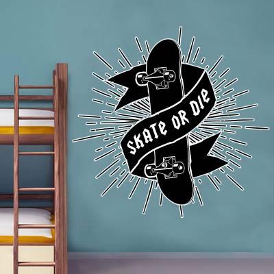 Adesivo De Parede Esportes Skate Or Die