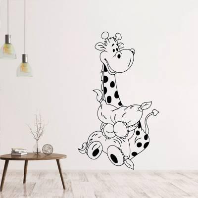 Adesivo de Parede Girafinha silhueta cartoon