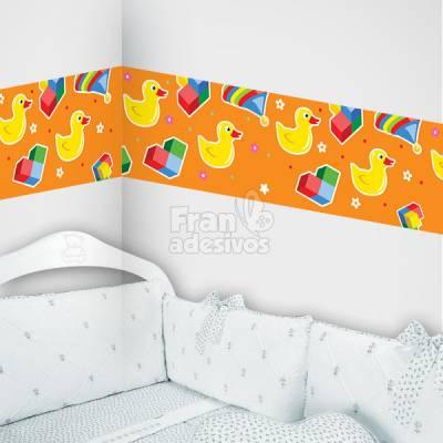 Faixa Decorativa para quarto infantil Patinhos - laranja