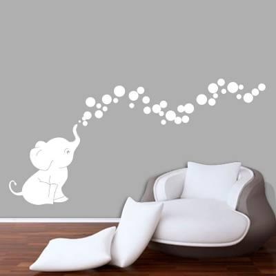 Adesivo De Parede Elefantinho Com Bolhas