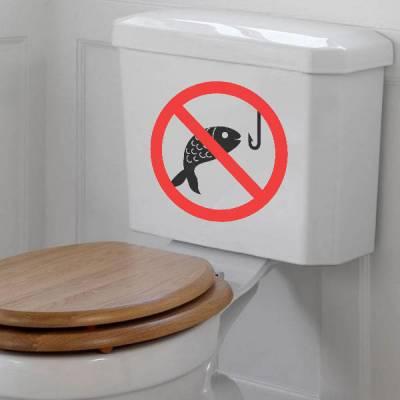 Adesivo de Banheiro para Vaso Acoplado Proibido Pescar