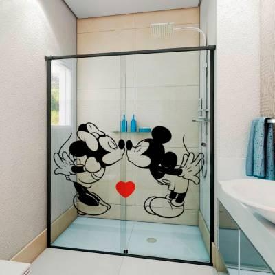 Adesivo para Box de Banheiro Mickey e Minnie