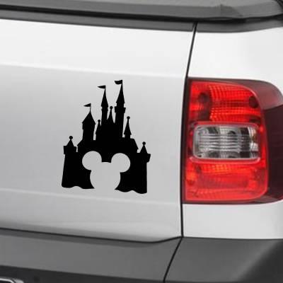 Adesivo de Carro E Moto Infantil Silhueta Castelo Disney