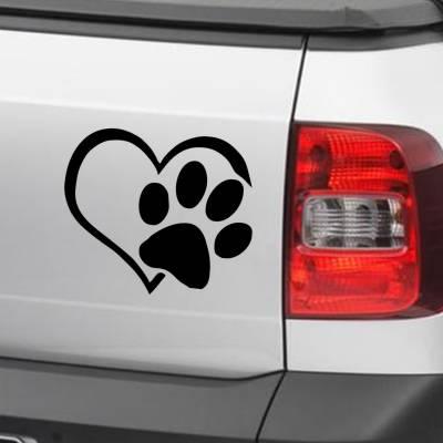 Adesivo de Carro E Moto Silhueta Coração Com Pata De Cachorro