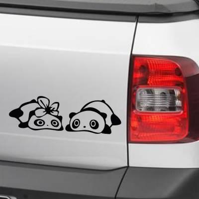 Adesivo de Carro e Moto Divertidos Casal De Pandas Deitados