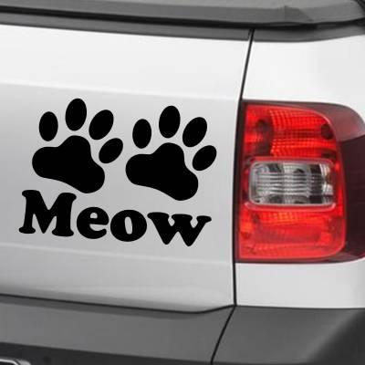 Adesivo De Carro E Moto Animais Gato Meow