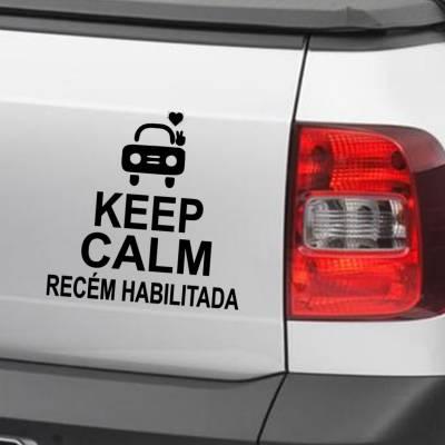 Adesivo de Carro E Moto Keep Kalm And Recém Habilitada