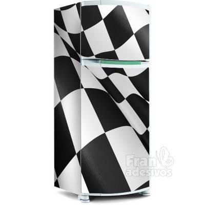 Adesivo para envelopamento de geladeira - Bandeira Fórmula 1