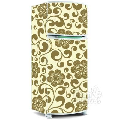 Adesivo para envelopamento de geladeira - Floral 4