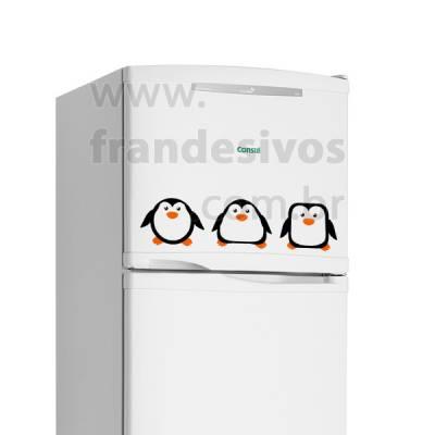 Adesivo de Geladeira 3 Pinguins