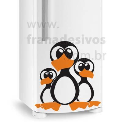 Adesivo de Geladeira 3 Pinguins Irmãos