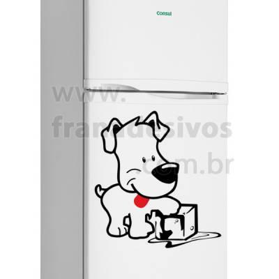 Adesivo de Geladeira Cachorro / cachorrinho com gelo
