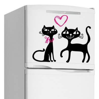 Adesivo de Geladeira Casal de Gatos / Gatinhos Apaixonados