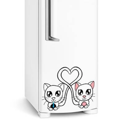 Adesivo de geladeira casal de gatinhos
