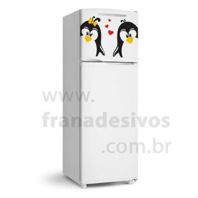 Adesivo de Geladeira Casal de Pinguins Apaixonados 2